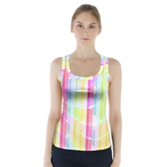 Colorful Abstract Stripes Circles And Waves Wallpaper Background Racer Back Sports Top