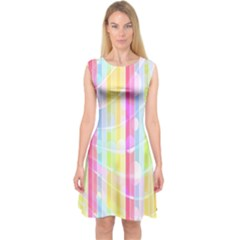 Colorful Abstract Stripes Circles And Waves Wallpaper Background Capsleeve Midi Dress