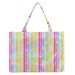 Colorful Abstract Stripes Circles And Waves Wallpaper Background Medium Zipper Tote Bag