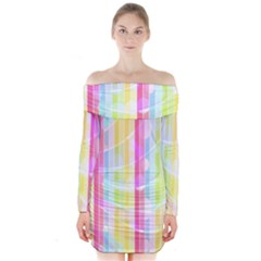 Colorful Abstract Stripes Circles And Waves Wallpaper Background Long Sleeve Off Shoulder Dress