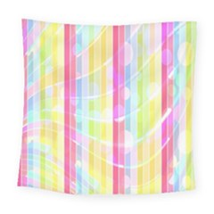 Colorful Abstract Stripes Circles And Waves Wallpaper Background Square Tapestry (large)