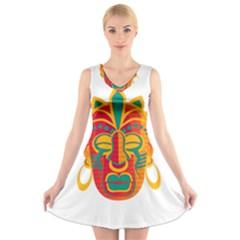 Mask V-Neck Sleeveless Skater Dress