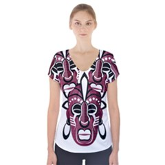 Mask Short Sleeve Front Detail Top