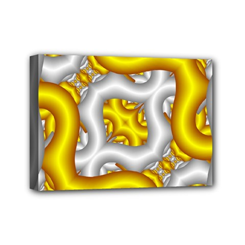 Fractal Background With Golden And Silver Pipes Mini Canvas 7  X 5