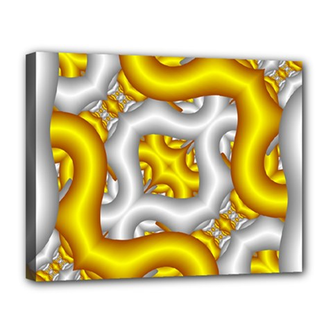 Fractal Background With Golden And Silver Pipes Canvas 14  X 11
