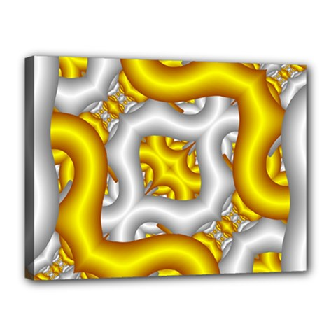 Fractal Background With Golden And Silver Pipes Canvas 16  X 12