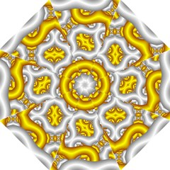 Fractal Background With Golden And Silver Pipes Folding Umbrellas