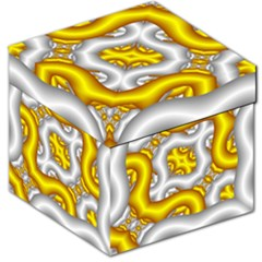 Fractal Background With Golden And Silver Pipes Storage Stool 12