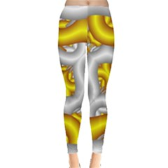 Fractal Background With Golden And Silver Pipes Leggings