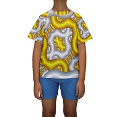 Fractal Background With Golden And Silver Pipes Kids  Short Sleeve Swimwear