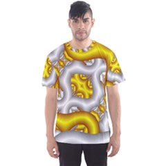 Fractal Background With Golden And Silver Pipes Men s Sport Mesh Tee