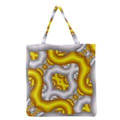 Fractal Background With Golden And Silver Pipes Grocery Tote Bag