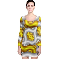 Fractal Background With Golden And Silver Pipes Long Sleeve Bodycon Dress
