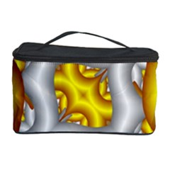 Fractal Background With Golden And Silver Pipes Cosmetic Storage Case