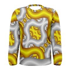 Fractal Background With Golden And Silver Pipes Men s Long Sleeve Tee