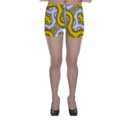 Fractal Background With Golden And Silver Pipes Skinny Shorts