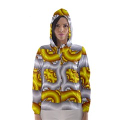 Fractal Background With Golden And Silver Pipes Hooded Wind Breaker (women)