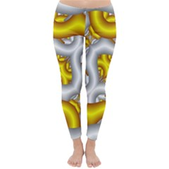 Fractal Background With Golden And Silver Pipes Classic Winter Leggings