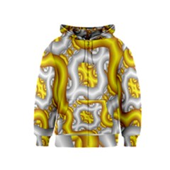 Fractal Background With Golden And Silver Pipes Kids  Zipper Hoodie