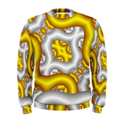 Fractal Background With Golden And Silver Pipes Men s Sweatshirt