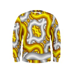 Fractal Background With Golden And Silver Pipes Kids  Sweatshirt