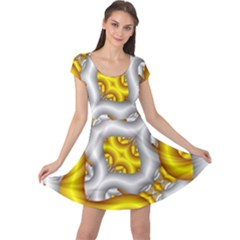 Fractal Background With Golden And Silver Pipes Cap Sleeve Dresses