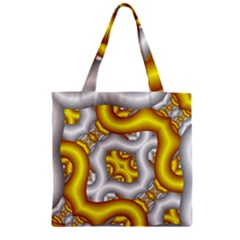 Fractal Background With Golden And Silver Pipes Zipper Grocery Tote Bag