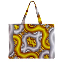 Fractal Background With Golden And Silver Pipes Zipper Mini Tote Bag