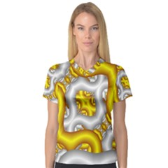 Fractal Background With Golden And Silver Pipes Women s V Neck Sport Mesh Tee
