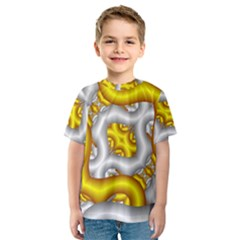 Fractal Background With Golden And Silver Pipes Kids  Sport Mesh Tee