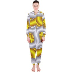 Fractal Background With Golden And Silver Pipes Hooded Jumpsuit (ladies)