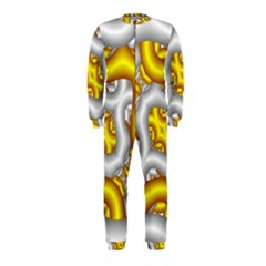 Fractal Background With Golden And Silver Pipes Onepiece Jumpsuit (kids)