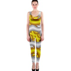 Fractal Background With Golden And Silver Pipes Onepiece Catsuit
