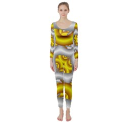 Fractal Background With Golden And Silver Pipes Long Sleeve Catsuit
