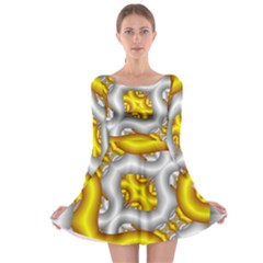 Fractal Background With Golden And Silver Pipes Long Sleeve Skater Dress