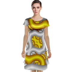 Fractal Background With Golden And Silver Pipes Cap Sleeve Nightdress