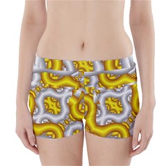 Fractal Background With Golden And Silver Pipes Boyleg Bikini Wrap Bottoms
