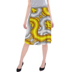 Fractal Background With Golden And Silver Pipes Midi Beach Skirt