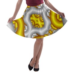 Fractal Background With Golden And Silver Pipes A-line Skater Skirt