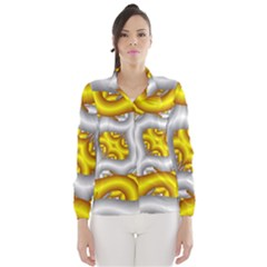 Fractal Background With Golden And Silver Pipes Wind Breaker (Women)