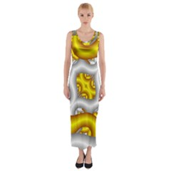 Fractal Background With Golden And Silver Pipes Fitted Maxi Dress