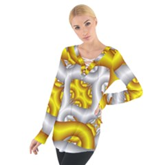 Fractal Background With Golden And Silver Pipes Women s Tie Up Tee