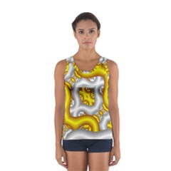 Fractal Background With Golden And Silver Pipes Women s Sport Tank Top