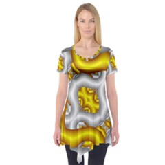 Fractal Background With Golden And Silver Pipes Short Sleeve Tunic