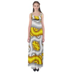 Fractal Background With Golden And Silver Pipes Empire Waist Maxi Dress