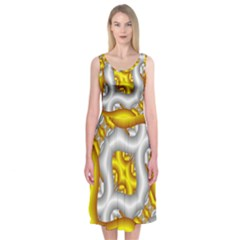 Fractal Background With Golden And Silver Pipes Midi Sleeveless Dress