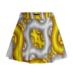 Fractal Background With Golden And Silver Pipes Mini Flare Skirt