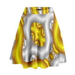 Fractal Background With Golden And Silver Pipes High Waist Skirt