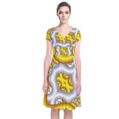 Fractal Background With Golden And Silver Pipes Short Sleeve Front Wrap Dress