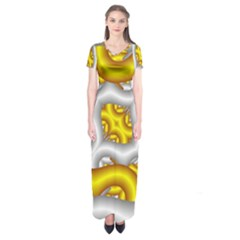 Fractal Background With Golden And Silver Pipes Short Sleeve Maxi Dress